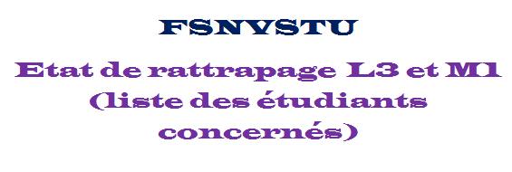 Etat de rattrapage L3 et M1 (liste des étudiants concernés)